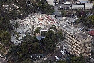 Corruption in Haiti - collapsed United Nations building in Haiti