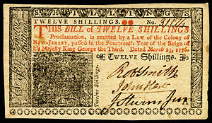New Jersey pound - Image: US Colonial (NJ 179) New Jersey 25 Mar 1776 OBV