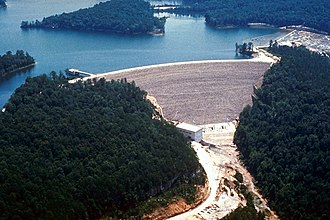 Daniel Boone National Forest - Areal view of the dam at Laurel River Lake