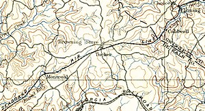 Tucker, Georgia - 19th century geological survey showing railroad in Tucker