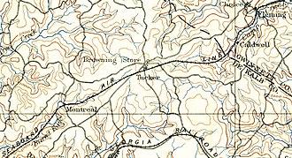 Tucker, Georgia - 19th century geological survey showing railroad in Tucker