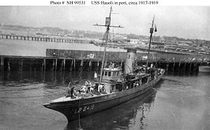 USS Hauoli (SP-249) In port, circa 1918-1919. This patrol vessel served as USS California (SP-249) from December 1917 until February 1918, when she was renamed Hauoli