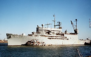 USS Norton Sound (AVM-1) leaves the Long Beach Naval Shipyard for gunnery trials, circa in 1969 (6454886).jpg