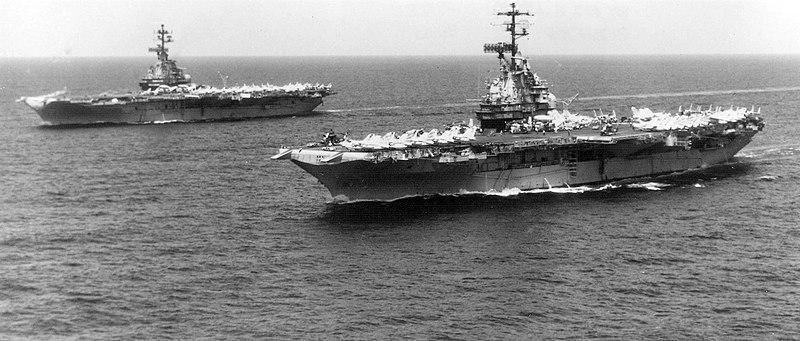 USS Oriskany (CVA-34) and Bon Homme Richard (CVA-31) off Vietnam 1970.jpg