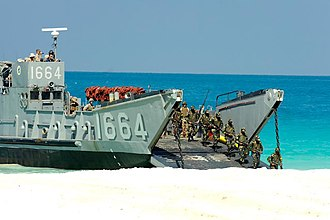 Pakistan Marines - The battalion of Pakistan Marines landing and ashore off a landing craft utility during a training exercise in support of Operation Bright Star.
