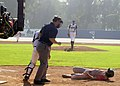 US Navy 031022-N-3874J-003 Barry Zito guest starred in an episode of the CBS television series JAG, as a Navy pitcher that beans a Marine batter in the head, walks toward the fallen batter.jpg
