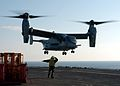 US Navy 031117-N-0442T-518 A U.S. Marine Crops MV-22 Osprey lands aboard the amphibious assault ship USS Bataan (LHD 5).jpg