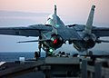 US Navy 041204-N-5345W-277 An F-14B Tomcat launches from the bow of the Nimitz-class aircraft carrier USS Harry S. Truman (CVN 75) during evening flight operations.jpg
