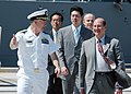 US Navy 060829-N-1332Y-126 Secretary of the Navy (SECNAV), the Honorable Dr. Donald C. Winter, is welcomed to Commander, Fleet Activities, Yokosuka by Commander, Naval Forces Japan, Rear Adm. Jamie Kelly.jpg