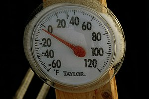 Negative number - This thermometer is indicating a negative Fahrenheit temperature (−4°F).