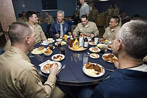 Wardroom - Image: US Navy 070329 N 8591H 014 Jeopardy host Alex Trebek enjoys lunch with USS Kitty Hawk (CV 63) Sailors in the wardroom