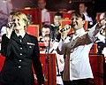 US Navy 070617-M-9449T-117 Musician 3rd Class Jessica Hatfield, vocalist with the U.S. Navy 7th Fleet Band, left, and Musician Tanya Christensen, vocalist with the Australian Army Band Brisbane sing Waltzing Matilda at the open.jpg