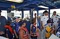 """US Navy 070710-N-0318S-002 Local Cub Scout members line up on board United States Naval Sea Cadet Ship Greyfox to """"drive the ship"""" along the Detroit River.jpg"""