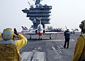 US Navy 070817-N-1063M-005 A T-45C Goshawk prepares to launch from the flight deck of Nimitz-class aircraft carrier USS Dwight D. Eisenhower (CVN 69).jpg