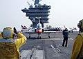 US Navy 070817-N-1063M-005 A T-45C Goshawk prepares to launch from the flight deck of Nimitz-class aircraft carrier USS Dwight D. Eisenhower (CVN 69).jpg