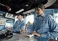 US Navy 090127-N-6936D-004 Quartermaster 3rd Class Crystal Arizpe, from Rupert, Idaho, assigned to the forward-deployed dock landing ship USS Tortuga (LSD 46), records bearings in the bearing log.jpg