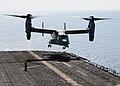 US Navy 091002-N-3165S-321 An MV-22B Osprey assigned to Marine Medium Tiltrotor Squadron (VMM) 263 (Reinforced) lands aboard USS Bataan (LHD 5).jpg