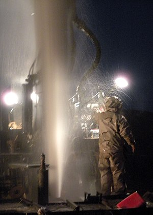 Water security - US Navy Seabees tapping an artesian well in Helmand Province, Afghanistan