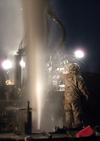 Artesian aquifer - U.S. Navy Seabees tapping an artesian well in Helmand Province, Afghanistan