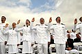 US Navy 100528-N-8273J-120 Midshipmen take the oath of office during the U.S. Naval Academy Class of 2010 graduation and commissioning ceremony at Navy-Marine Corps Memorial Stadium in Annapolis, Md.jpg