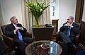 US Navy 101221-N-5549O-014 Secretary of the Navy (SECNAV) the Honorable Ray Mabus speaks with Israeli Prime Minister Binyamin Netanyahu during an o.jpg