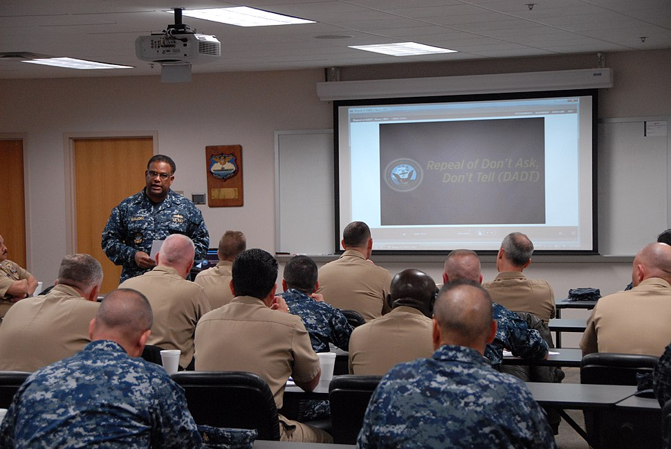 US Navy 110317-N-5469W-016 Rear Adm. Vic Guillory, commander of U.S. Naval Forces Southern Command and U.S. 4th Fleet, kicks off the Don%27t Ask, Don.jpg
