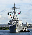 US Navy 110629-N-WX059-118 Sailors man the rails aboard SS Paul Hamilton (DDG 60) as the ship returns to Joint Base Pearl Harbor-Hickam after a sev.jpg