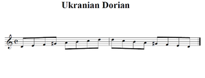a visual representation of the Ukrainian Dorial scale D, E, F, G♯, A, B,C, D