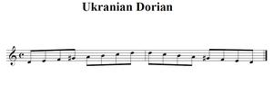 a visual representation of the Ukranian Dorial scale D, E, F, G♯, A, B,C, D