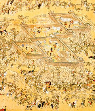 Korean martial arts - Korean Army under Gwon Yul attacking the Japanese Castle at Ulsan, commanded by Kato Kiyomasa.  Note that the entire formation is archers, as painted by the Japanese.