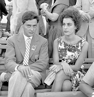 Umberto Agnelli - Umberto Agnelli with wife Antonella Piaggio at the 1960 Olympics
