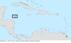 Map of the change to the United States in the Caribbean Sea on September 1, 1972