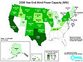 United States installed wind power capacity by state 2006.jpg