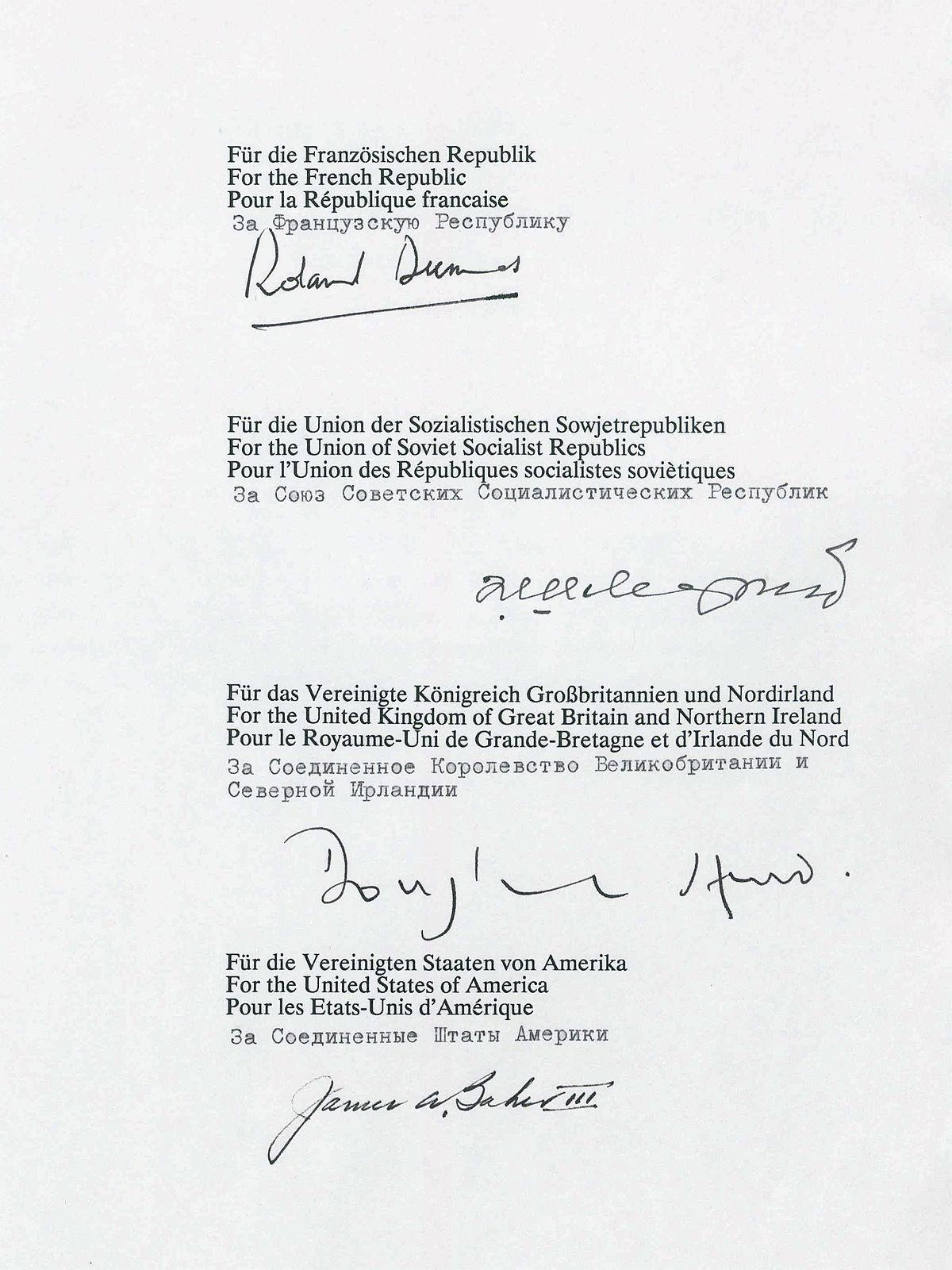 Zwei-plus-Vier-Vertrag – Wikipedia