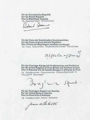 Treaty on the Final Settlement with Respect to Germany - The signatures of the representatives of the four powers on the final treaty
