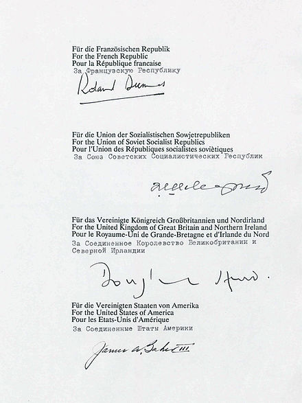 The signatures of the representatives of the four powers on the final treaty Unterschriften 2+4.jpg
