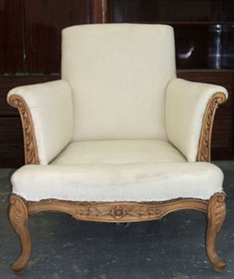 Upholstery - A stripped chair ready to be upholstered.