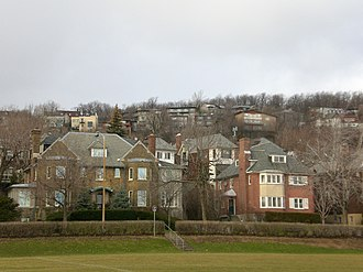 Westmount, Quebec - Upper Westmount and Westmount Summit seen from King George Park.