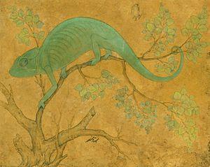 Chameleon - Mughal era painting of a chameleon by Ustad Mansur.