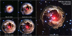 Variable star - Images showing the expansion of the light echo of a red variable star, the V838 Monocerotis