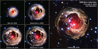 Nibiru cataclysm - NASA images showing the expansion of a light echo around V838 Mon, between 2002 and 2004