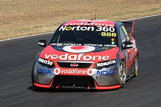 Craig Lowndes - The Ford Falcon of Craig Lowndes at Queensland Raceway, 23 August 2009.