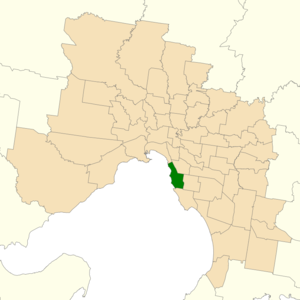 Electoral district of Brighton - Location of Brighton (dark green) in Greater Melbourne