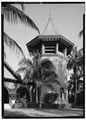 VIEW OF CHURCH TOWER FROM NORTHWEST - Bethesda-By-The-Sea, 549 North Lake Trail, Palm Beach, Palm Beach County, FL HABS FLA,50-PALM,2-3.tif