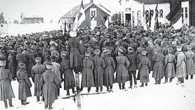 Un meeting de soldats en Finlande, mars 1917.