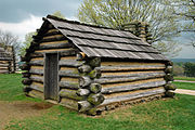 Recreation of a cabin in which soldiers would have lived at Valley Forge