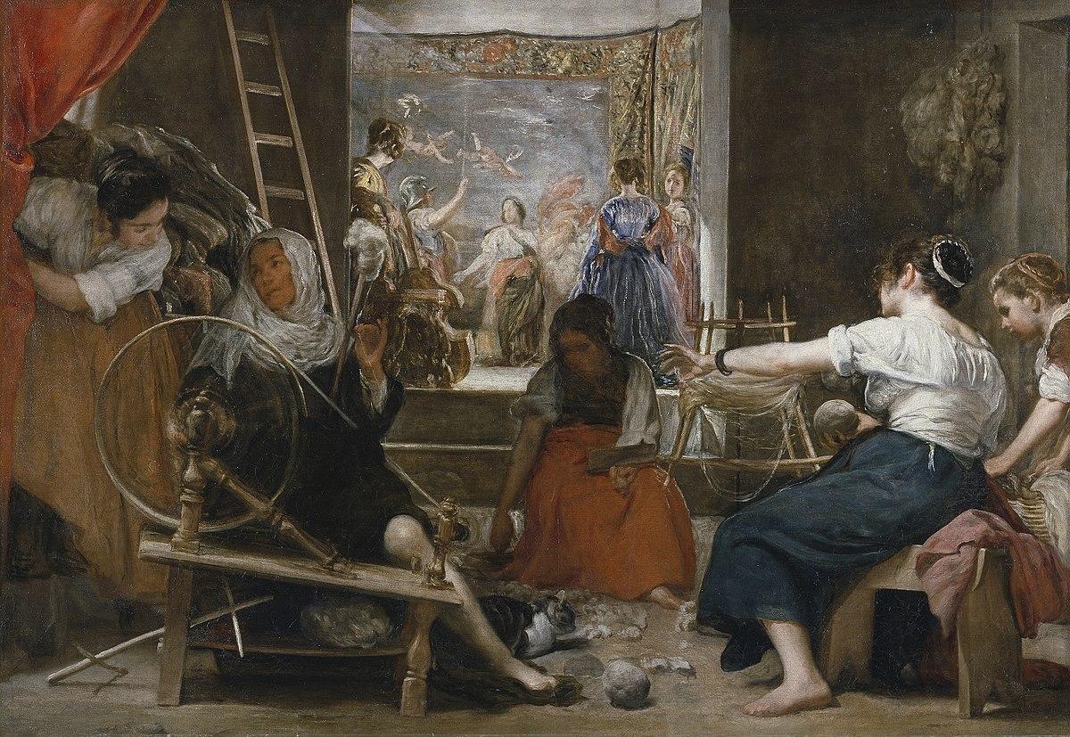Rueca en la obra que representa el momento en que la tejedora Aracne fue convertida en araña por la diosa Atenea, y es una de las obras mitológicas más conocidas del pintor sevillano Diego Velázquez.