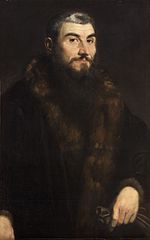 Portrait of a Man in Fur-lined Coat with Gloves
