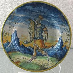Venezia, piatto con guerriero, 1570-80 ca.