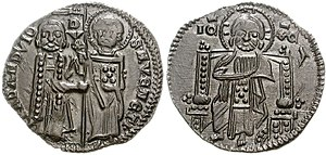 Basilikon - Silver Venetian ducat (Matapan) of Francesco Dandolo, ca. 1328. The similarity of the iconography with the basilikon is evident.